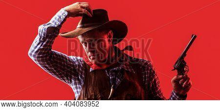 Portrait Of Farmer Or Cowboy In Hat. American Farmer. Portrait Of Man Wearing Cowboy Hat, Gun. Portr
