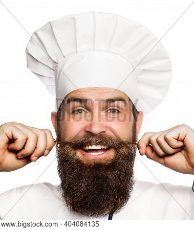 Funny Chef With Beard Cook. Portrait Of A Happy Chef Cook. Cook Hat. Bearded Chef, Cooks Or Baker. B