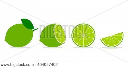 Set Of Whole And Sliced Lime Or Lemon With Leaf. Flat Vector Illustration Isolated On White Backgrou