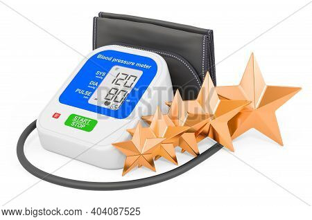 Customer Rating Of Electronic Sphygmomanometer. 3d Rendering Isolated On White Background