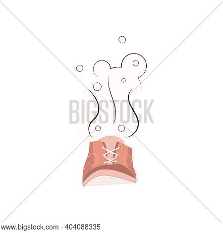 Flat Icon Of Smelly Sports Shoe On White Background Vector Illustration