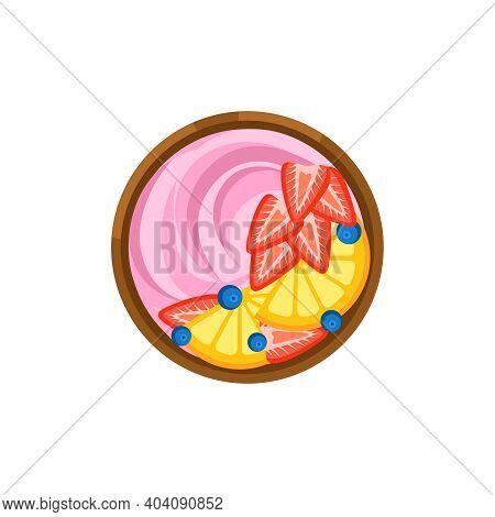 Breakfast Bowl Of Berry And Fruit Yogurt On White Background Flat Vector Illustration