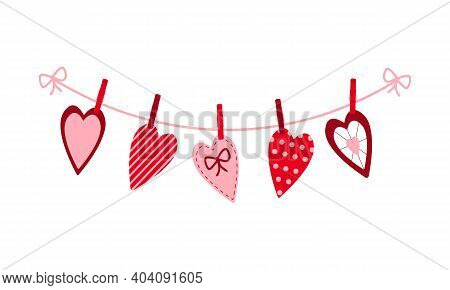 Various Valentine Hearts Hanging On The Rope On The Clothespins. Decorating For Greeting Cards, Bann