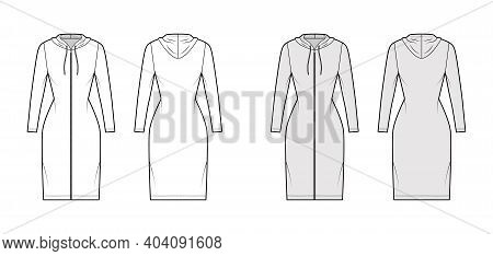 Hoodie Zip-up Dress Technical Fashion Illustration With Long Sleeves, Knee, Mini Length, Fitted Body
