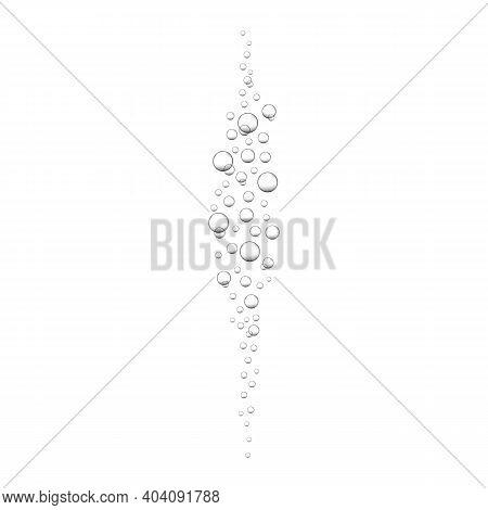 Air Bubbles In Ocean, Sea Or Aquarium Water. Oxygen Bubbles In Carbonated Drink, Soda, Lemonade, Cha