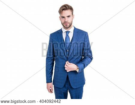 Elegance Is Key. Elegant Man Wear Suit Isolated On White. Business Formal Style. Fashion Trend. Tren