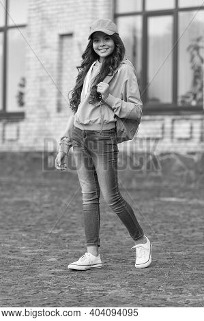 Fashionable Fall Style. Happy Child In Casual Style Outdoors. Fall Look Of Little Fashionista. Trend