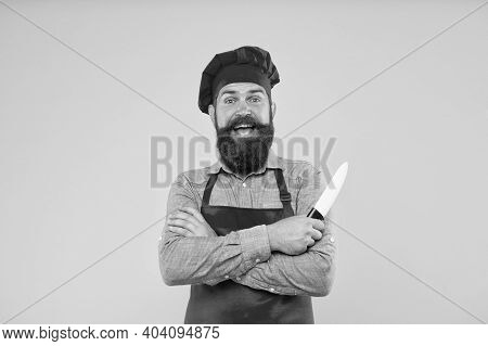 Catering Imagination. Catering Company Ad. Welcome To Cafe. Time To Eat. Happy Bearded Chef Hold Kni