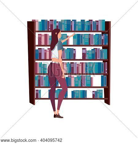 Woman Buying Books At Bookshop Flat Vector Illustration