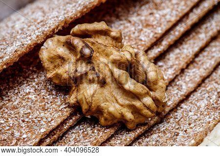 Walnut On Biscuit Texture, Walnut Kernel. Healthy Food From Walnuts.