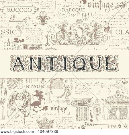 Vector Banner For An Antique Shop With An Ornate Inscription Antique On An Abstract Monochrome Backg