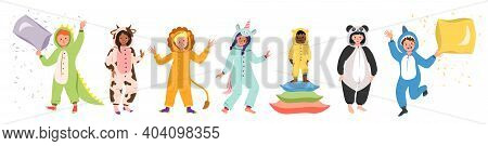 Childrens Pajama Party. Set Of Kids Wearing Jumpsuits Or Kigurumi Of Different Animals Isolated On W