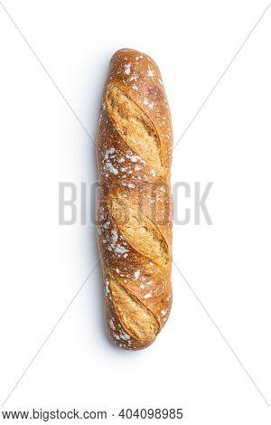 Crispy fresh baguette isolated on white background.