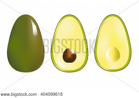 Avocado. Whole And Half Of The Fruit With Seed Isolated On White Background.realistic Fresh Bright F