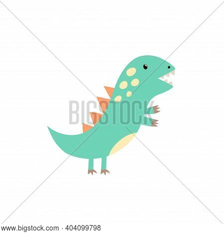 Funny Little Tyrannosaurus Rex In Childish Style Print. Cute Dinosaur T Rex