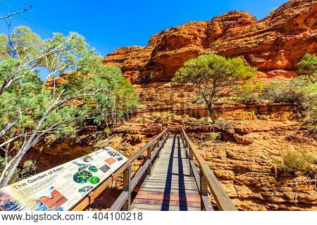 Kings Canyon, Northern Territory, Australia - Aug 21, 2019: Interpretive Sign Information At Footbri