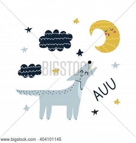 Auu Print With Cute Wolf Howling At The Moon. Funny Card With A Forest Character