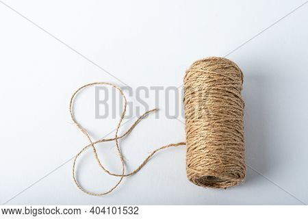 Spool Rope On White Background. Isolated. Embroidery Thread Yarn Isolated, Wool Knitting. A Set Of I