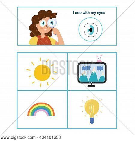 Five Senses Poster. Sight Sense Presentation Page For Kids
