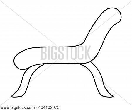 Daybed Or Chaise Longue On High Legs - Vector Linear Illustration For Coloring. Outline. Lounge Furn