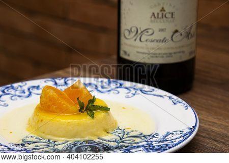 Tangerine Pudding - Caramelized Pudding Dessert With Tangerine. Harmonized With Sparkling Wine.