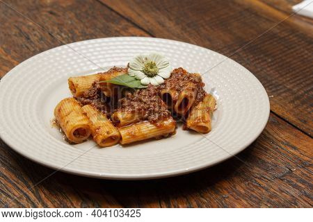 Rigatoni Pasta With Lamb Sauce And Ragout.