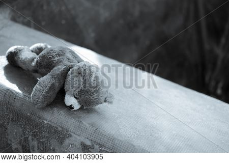 Broken Heart Or Loneliness Concept. Black And White Image Of  Alone Teddy Bear Sleeping On Dirty Flo