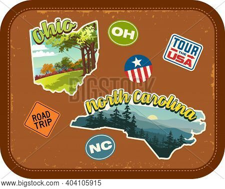Ohio, North Carolina Travel Stickers With Scenic Attractions And Retro Text On Vintage Suitcase Back
