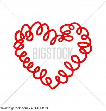 Curly Felt Tip Pen Red Heart. Love Shaped Curl Symbol Handmade. Valentines Day Imitation Concept. Ve
