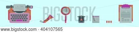 Set Of Clue Finder Cartoon Icon Design Template With Various Models. Modern Vector Illustration Isol