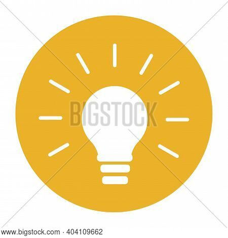 Light Bulb Yellow Circle In Cartoon Style. Light Bulb Line Icon Vector. Solution, Idea Icon Symbol.