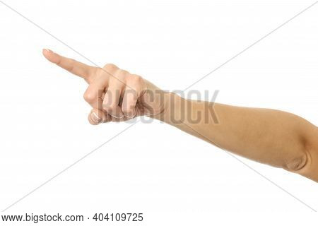 Pointing Left. Woman Hand With French Manicure Gesturing Isolated On White Background. Part Of Serie