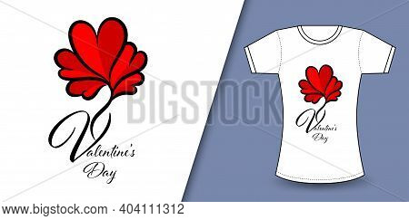 Valentine's Day T-shirt Design Vector, T Shirt Design For Happy Valentine's Day Template, Clothing P