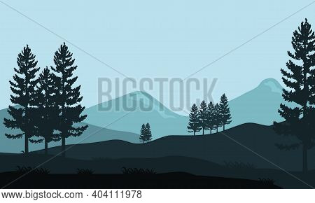 Amazing Soothing Scenic In The Morning. Vector Illustration