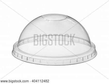 Plastic Cup Cover Lid Disposable (with Clipping Path) Isolated On White Background
