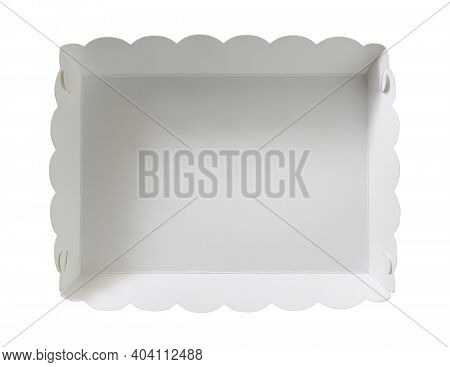 Paper Food Box Disposable Top View (with Clipping Path) Isolated On White Background