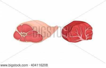 Ham And Beef Slab As Raw Meat Product For Cooking And Eating Vector Set