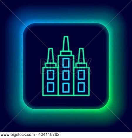 Glowing Neon Line Skyscraper Icon Isolated On Black Background. Metropolis Architecture Panoramic La
