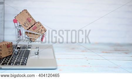 Online Shopping And Home Delivery Concept. Lock Down And Self-quarantine For Work Home.