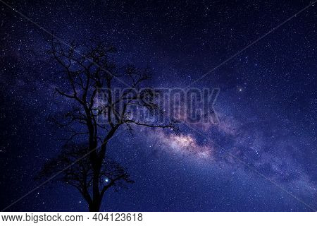 Milky Way Galaxy With Stars And Space Dust In The Universe Deep Sky.
