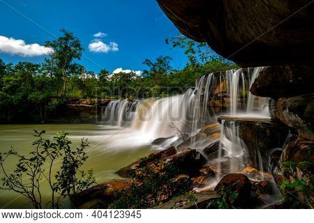 A Small Waterfall In The Deep Forest Of The Border Of Thailand And Cambodia,wang Yai  Waterfall In T