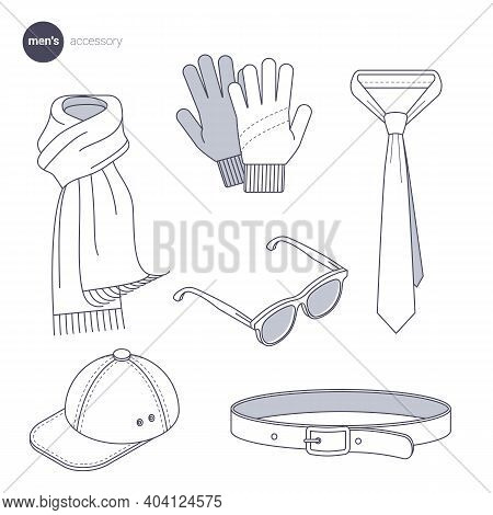 Men Accessories. Clothes Icons, Thin Line Style. Retail Online Store Catalog Sections Signs And Obje