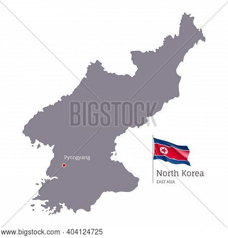 Silhouette Of North Korea Country Map. Gray Editable Map Of North Korea With Waving National Flag An
