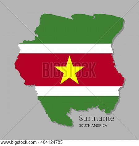 Map Of Suriname With National Flag. Highly Detailed Editable Map Of Suriname, South America Country