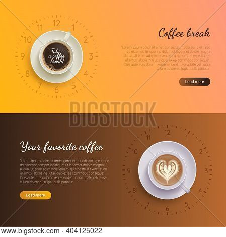 Coffee Break Landing Page Templates Set. Break At Work, Relaxation During Lunch, Coffee Shop, Cafe W