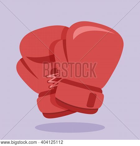 Boxing Gloves Icon On Colored Background. Vector Illustration