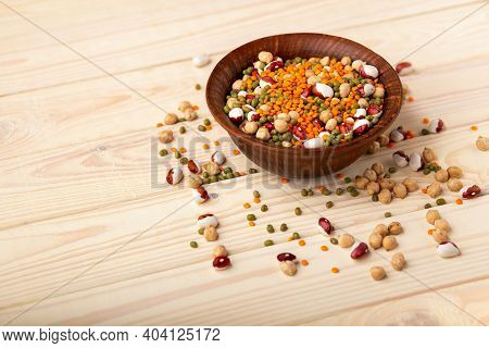 Raw Dried Legume On Old Rustic Wooden Table, Close Up, Copy Space