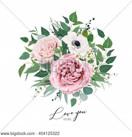 Vector Art Floral Watercolor Bouquet Editable Illustration. Elegant Mauve, Dusty Pink Garden Rose Fl