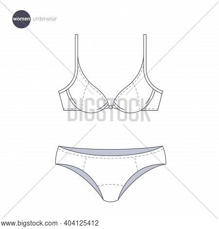 Women Lingerie. Clothes Icons, Thin Line Style. Retail Online Store Catalog Sections Signs And Objec
