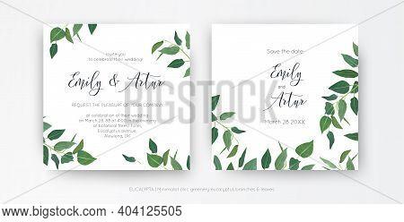 Modern, Minimalist Style Leafy Wedding Invitation, Floral Invite Card Design. Natural Eco-friendly E